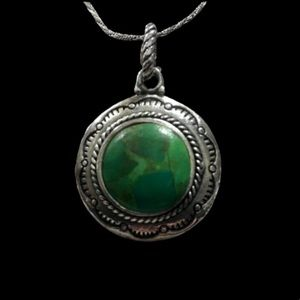 BARSE Green Turquoise Sterling Silver Necklace